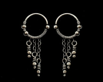SIlver Chains Earrings - Helix Piercing - Sterling Silver Earrings - Hoop Earrings -  Fine Jewelry - 925 Silver - Plain Silver Collection