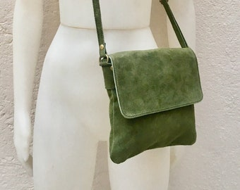 2bb6c71226c Cross body bag with flap. BOHO suede leather bag in MOSS GREEN. Soft genuine  suede leather. Crossover
