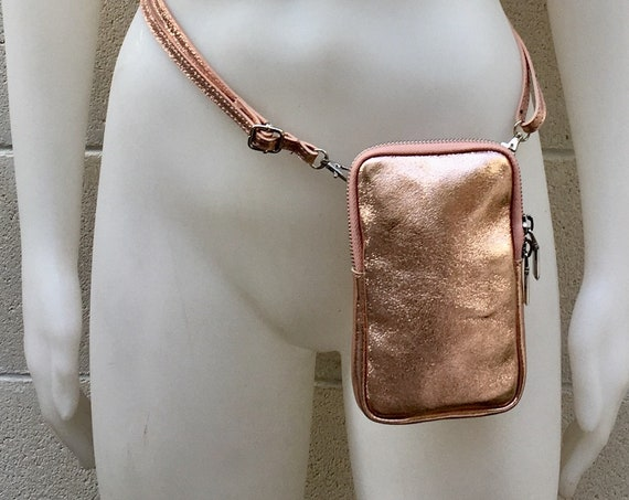 Small cross body bag - fanny pack  in GOLD - PINK  in  genuine leather . Waist  bag with adjustable strap and zipper, leather phone case