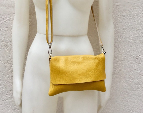 Small leather bag in MUSTARD  YELLOW .Cross body bag, shoulder bag in GENUINE  leather. Yellow bag with adjustable strap,  zipper and flap.