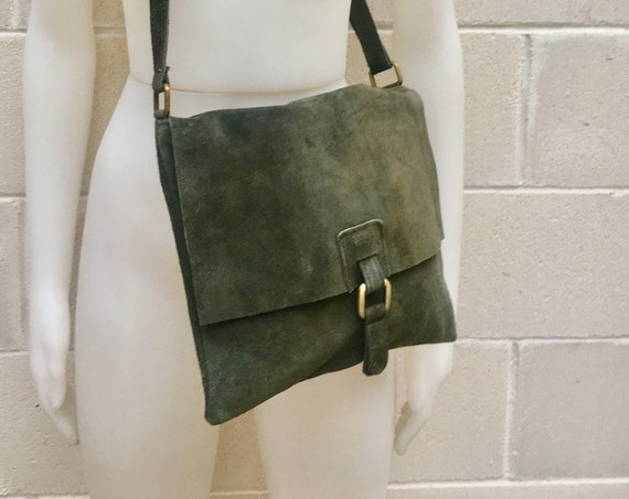 BOHO  suede leather bag in  DARK  GREEN. Soft natural suede, genuine  leather bag. Crossover, messenger bag in suede. Festival,  Ibiza bags