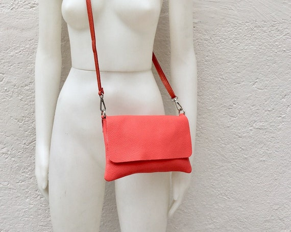 Small leather bag in CORAL RED Cross body bag, shoulder bag in GENUINE  leather. Yellow bag with adjustable strap,  zipper and flap.