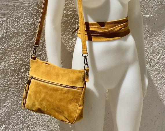 BOHO suede  bag in MUSTARD YELLOW with matching belt. Soft natural suede leather crossbody bag and belt. Messenger bag in genuine leather
