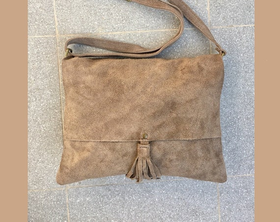 Cross body bag. BOHO suede leather bag in TAUPE beige. Dark beige  soft  genuine suede leather. Crossover, messenger bag in suede.