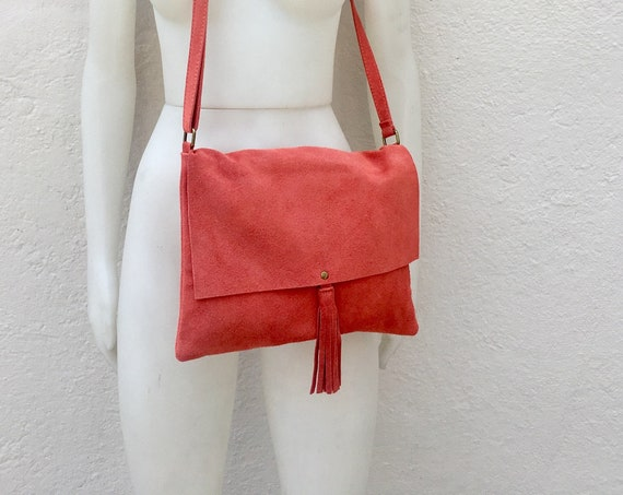 Cross body bag. BOHO suede leather bag in Coral RED. Soft  genuine suede leather. Crossover, messenger bag in suede.