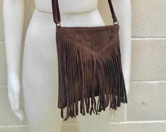 Cross body bag. BOHO suede leather bag in dark BROWN  with FRINGES. Messenger bag in soft  genuine suede leather. Crossbody hippy bag
