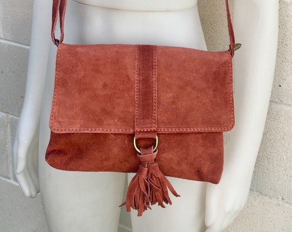 Cross body bag. BOHO suede leather bag in burnt ORANGE. Soft genuine suede leather. Crossover, messenger bag in suede. Festival,small bags