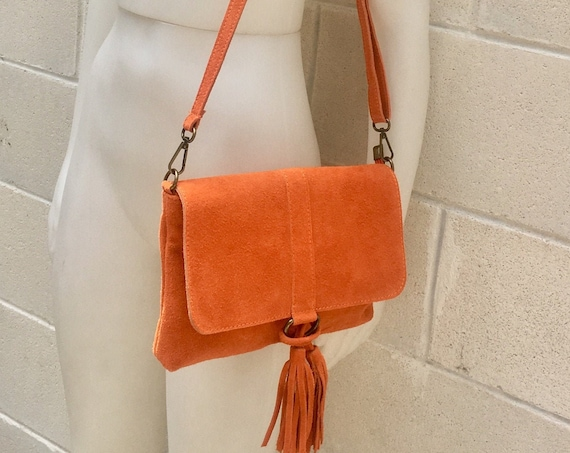 Cross body bag. BOHO suede leather bag in soft ORANGE. Soft genuine suede leather. Crossover, messenger bag in suede. Festival,small bags
