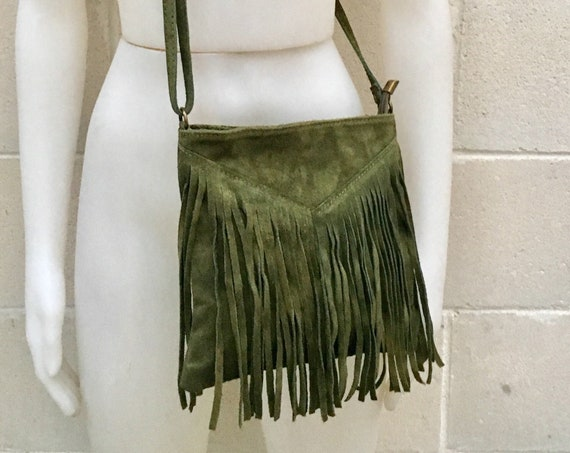 Cross body bag. BOHO suede leather bag in GREEN with FRINGES. Messenger bag in soft  genuine suede leather. Crossbody hippy bag