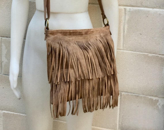 Cross body bag. BOHO suede leather bag in dark beige with FRINGES. Larger model. Light brown crossbody hippy  bag in genuine suede.Taupe bag