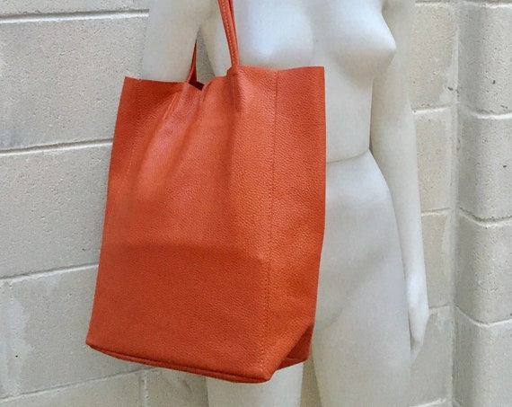 Tote bag in burnt ORANGE.  Genuine leather bag. Laptop bag, office bag to carry your tablet or books. Grain leather tote bag.