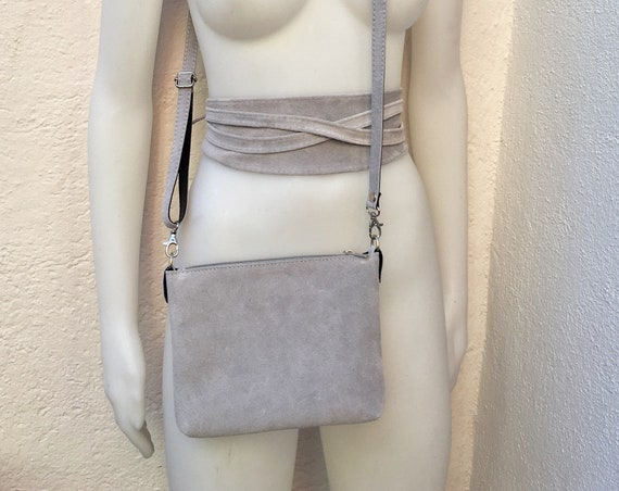 Small suede  bag in LIGHT GRAY with matching belt. Cross body bag and OBI belt set in suede leather. Adjustable strap and zipper