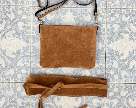 Small suede  bag in  CAMEL brown with matching belt. Cross body bag and OBI belt set in suede leather. Adjustable strap and zipper