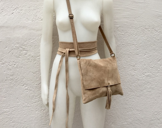 BOHO suede leather bag and obi  belt in beige. Soft natural leather bag. Genuine suede set of bag and belt.