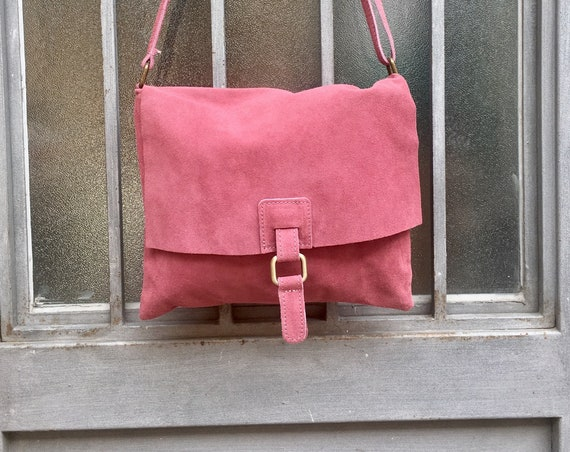 Suede bag in dark PINK. Genuine leather BOHO  bag. PUNCH pink Messenger bag in soft natural leather for books, tablets...