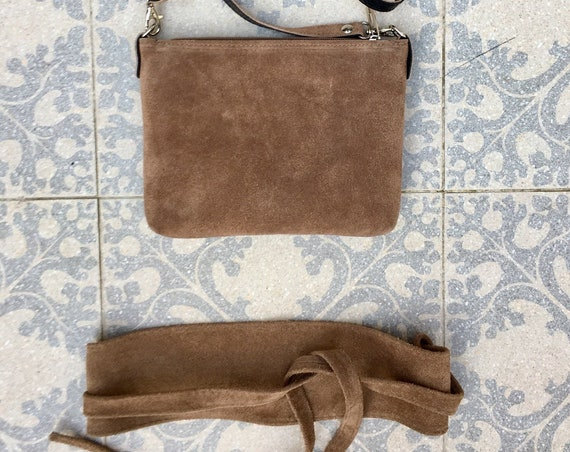 Small suede  bag in  dark BEIGE with matching belt. Cross body bag and OBI belt set in suede leather. Adjustable strap and zipper
