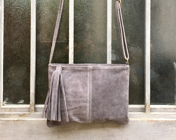 Suede leather bag in  DARK GRAY Cross body bag, shoulder bag in GENUINE  leather. Small leather bag with adjustable strap and zipper.