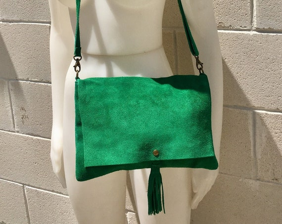 Cross body bag. BOHO suede bag in green . Soft suede,  genuine leather bag. Crossover, messenger bag in green suede.Soft.