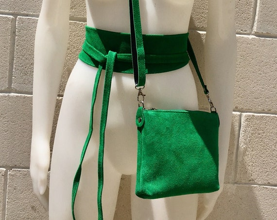 Small suede  bag in GREEN with matching belt. Cross body bag and OBI belt set in suede leather. Adjustable strap and zipper