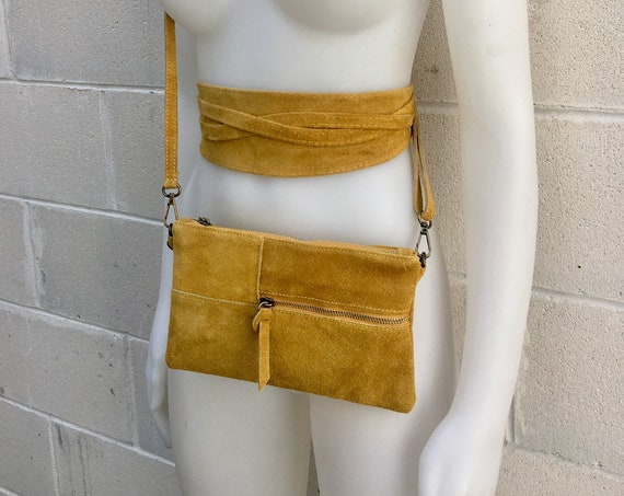 BOHO suede leather bag and obi  belt in MUSTARD yellow. Soft natural leather bag. Genuine suede set of CROSSBODY bag and belt.