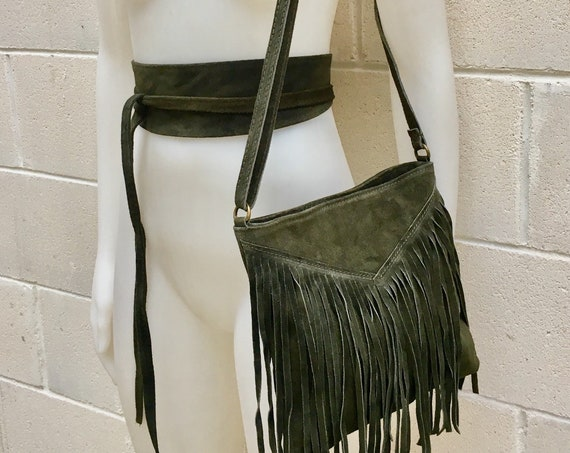 Cross body bag. BOHO suede leather bag in dark GREEN with FRINGES and suede waistbelt.Hippy suede bag and belt set in forest green