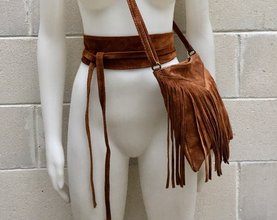 Cross body bag. BOHO suede leather bag in dark CAMEL with FRINGES and suede waistbelt.Hippy suede bag and belt set in tobacco brown