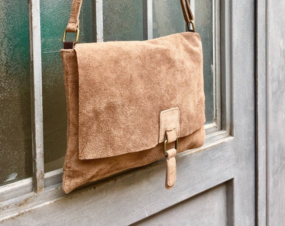 Cross body suede bag.Genuine leather bag in dark BEIGE. BOHO Soft natural leather bag. BROWN Messenger bag in suede  for books, tablets...