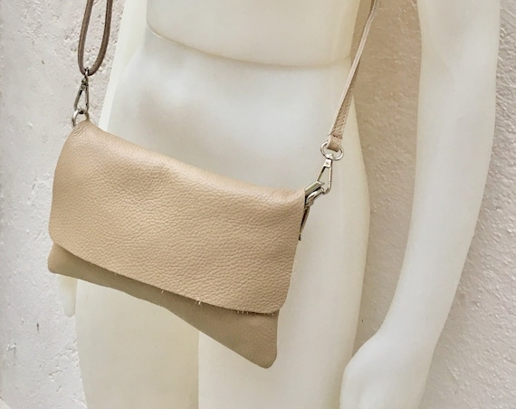 Small leather bag in BEIGE. Cross body bag, shoulder bag in GENUINE  leather. Yellow bag with adjustable strap,  zipper and flap.