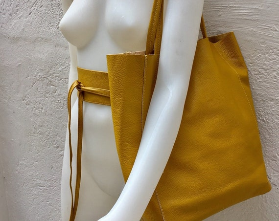 Tote bag in mustard YELLOW with belt.Soft natural GENUINE leather bag + belt set. Large yellow leather bag. Computer, tablet or Laptop bag.