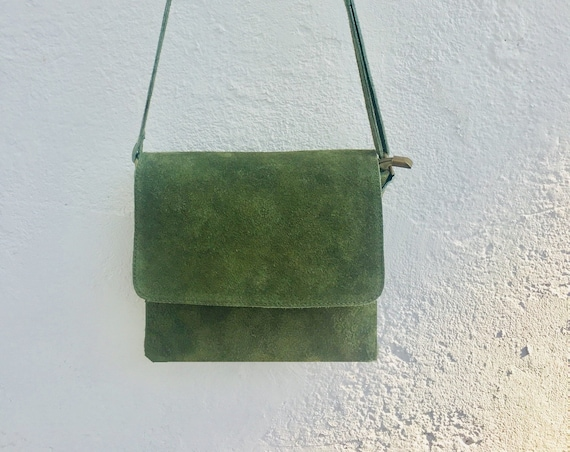 Cross body bag with flap. BOHO suede leather bag in MOSS GREEN. Soft genuine suede leather. Crossover, messenger bag in suede. Small bag