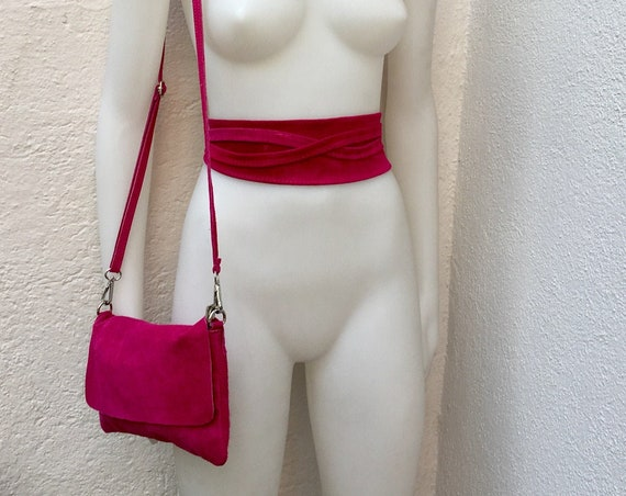 Small suede  bag in shocking PINK with matching belt. Cross body bag and OBI belt set in suede leather. Adjustable strap and zipper