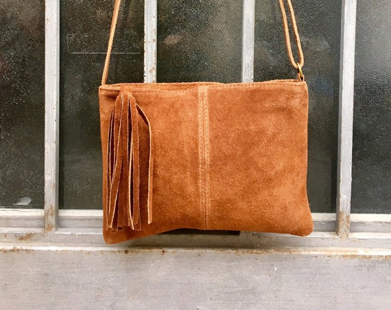 Suede leather bag in  CAMEL BROWN Cross body bag, shoulder bag in GENUINE  leather. Small leather bag with adjustable strap and zipper.