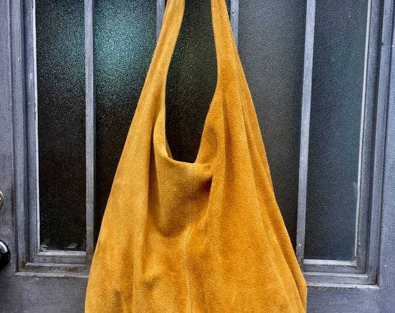 Slouch bag with zipper.TOTE leather bag in MUSTARD yellow. Soft natural suede, genuine leather bag. MUSTARD yellow suede bag.Hobo,laptop bag