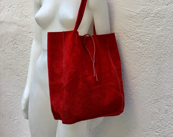 Large tote  leather bag in m RED. Soft natural suede genuine leather bag. Bohemian bag.  RED suede bag . Laptop  bag in RED
