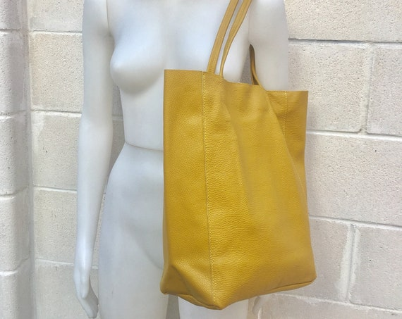 Tote leather bag in mustard YELLOW. Soft natural GENUINE  leather bag.  Large yellow leather bag. Computer bag, , Laptop bag. With ZIPPER.