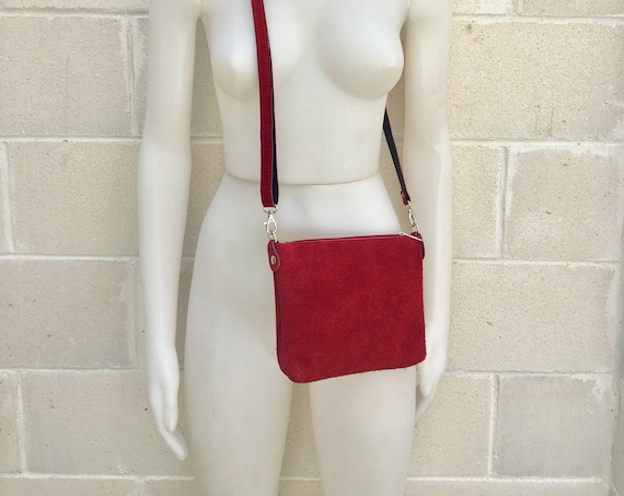 Suede leather bag in DARK RED. Burgundy  crossbody bag,shoulder bag in GENUINE  leather. Small leather bag with adjustable strap and zipper.