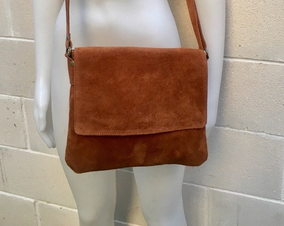 Cross body bag. BOHO suede leather bag in TOBACCO BROWN. Soft genuine suede leather. Crossover, messenger bag in suede. Festival,small bags