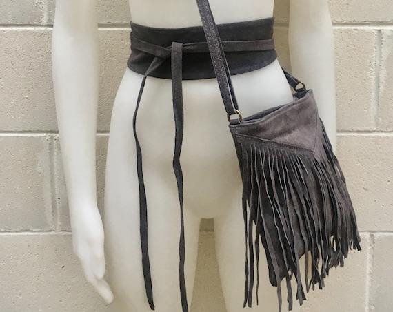 Cross body bag. BOHO suede leather bag in dark GRAY with FRINGES and suede waistbelt.Hippy suede bag and belt set in grey