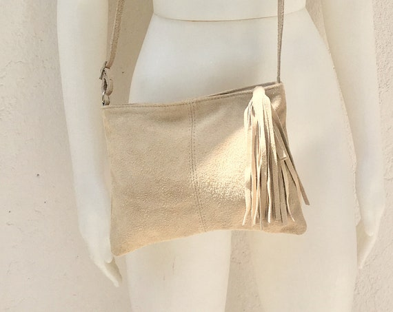 Suede leather bag in Light Beige .Cross body bag, shoulder bag in GENUINE  leather. Small leather bag with adjustable strap and zipper.