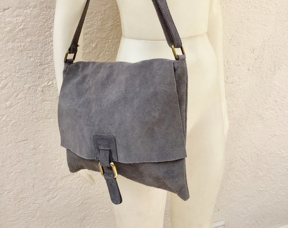 Leather bag in dark GREY. BOHO messenger bag in gray suede.  Cross body bag in grey suede. Soft genuine leather bag. School bags, book bag.