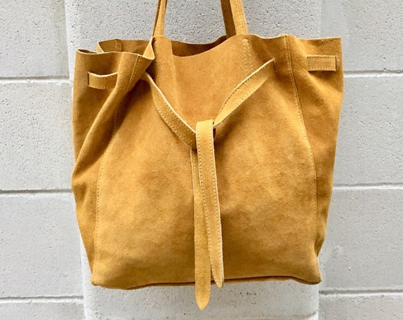 Large TOTE leather bag in MUSTARD.Soft natural suede genuine leather bag. Boho bag.  Yellow suede bag. Laptop  bag in suede.