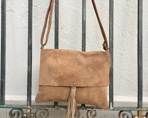 Cross body bag. BOHO suede leather bag in LIGHT BROWN. Dark beige or taupe soft  genuine suede leather. Crossover, messenger bag in suede.