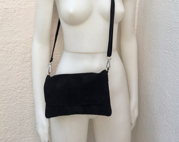 Small suede  bag in BLACK. Soft genuine leather , Cross body bag with zipper, flap and adjustable strap. Boho, festival bags.