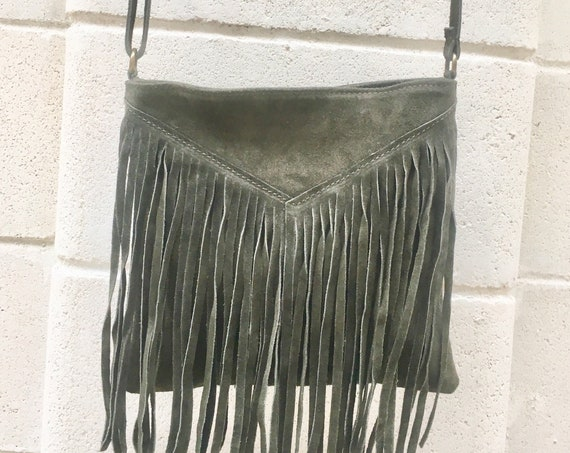 Cross body bag. BOHO suede leather bag in DARK GREEN with fringes. Messenger bag in soft  genuine suede leather. Crossbody hippy bag