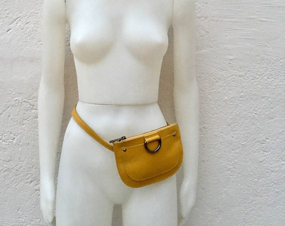 FANNY pack in  MUSTARD yellow .Small leather cross body bag, bum pack bag in GENUINE  leather. Yellow bag with adjustable strap and zipper