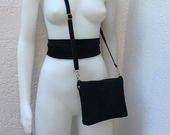 Small suede  bag in BLACK  with matching belt. Cross body bag and OBI belt set in suede leather. Adjustable strap and zipper