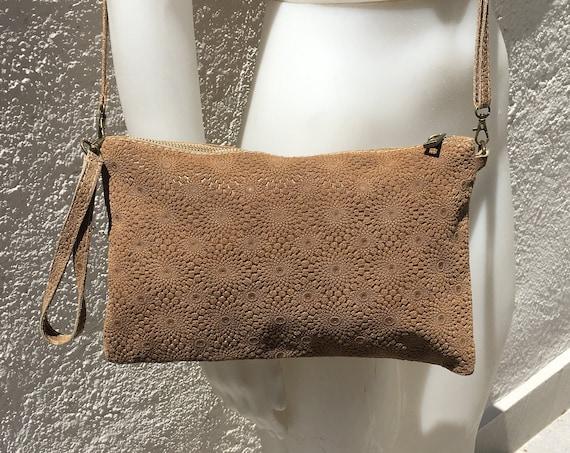 DARK BEIGE cross over bag in ENGRAVED genuine leather . Messenger bag in genuine  leather, Art Nouveau inspired design. boho festival ba