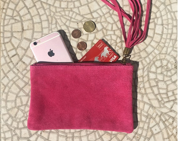 Small genuine suede leather BAG in shocking PINK,iPhone case,Cosmetic bag, Make up bag,Purse in magenta pink suede. Party clutch with tassel