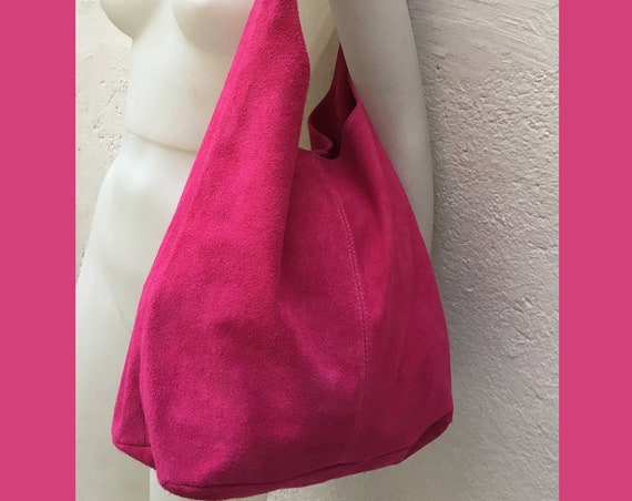 Large TOTE leather bag in MAGENTA. Pink slouch bag made with soft natural suede, genuine leather bag. Boho bag. Fucsia suede bag. Laptop bag