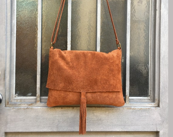 Cross body bag. BOHO suede leather bag in CAMEL BROWN. Soft genuine suede leather. Crossover, messenger bag in suede. Festival,  small bags